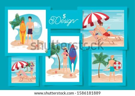 set of five designs summer