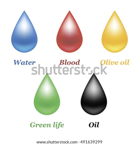 set of five drops isolated