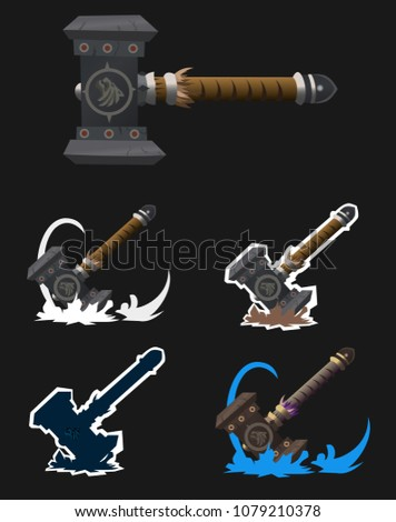 set of five fantasy weapons