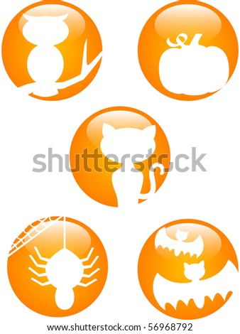 Set of five Glossy Halloween icons in orange and white