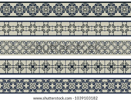 Set of five illustrated decorative borders made of abstract elements in beige and shades of blue #1039103182