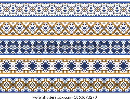 Set of five illustrated decorative borders made of abstract elements in white, yellow, blue and black #1060673270