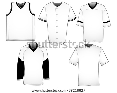 set of five jerseys from different sports your own design can easily be placed on