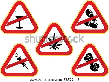 set of five No to Drugs icons. Now people, please use these icons responsibly. All elements layered separately for easy editing and manipulation.