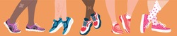 Set of five pairs of feet of diverse people wearing colorful sneakers of different designs on an orange background in a fashion concept, colored vector illustration