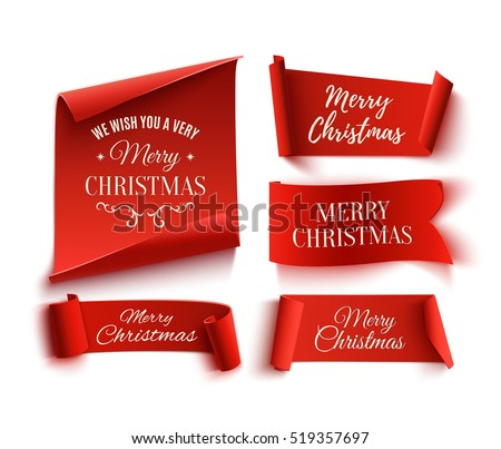 Set of five red, Merry Christmas, realistic, paper banners. Vector illustration.