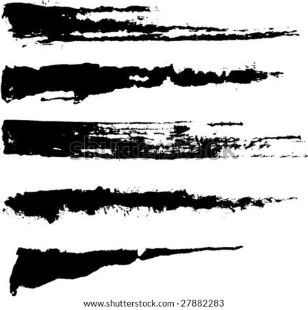 -vector-set-of-five-rough-inky-brush-strokes-each-vector-brush-stroke ...