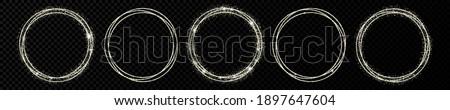 set of five silver circle