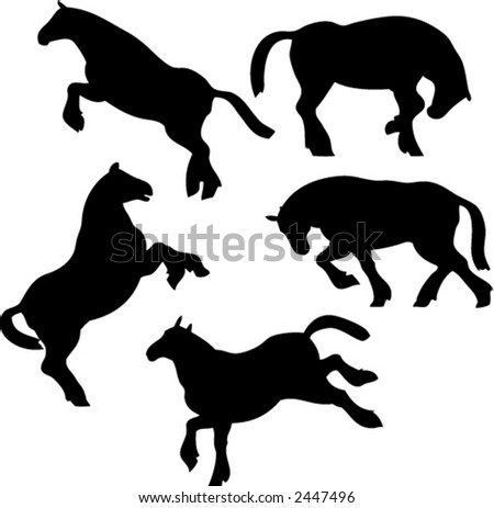 Set of Five Vector Horse Silhouettes