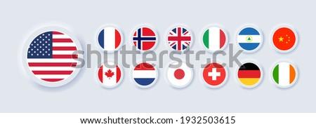 Set of flag icon. United States, Italy, China, France, Canada, Japan, Ireland, Kingdom, Nicaragua, Norway, Switzerland, Netherlands. Round icons flags. Neumorphic UI UX user interface. Neumorphism Foto stock ©
