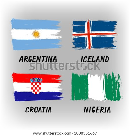set of 4 flags   argentina