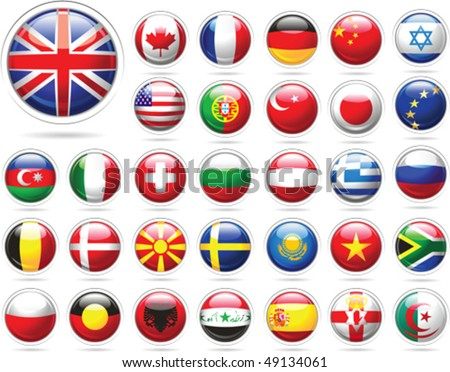 set of flags glossy buttons