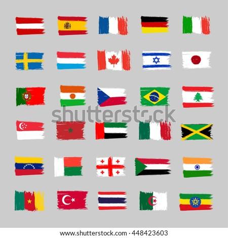 set of 30 flags   grunge