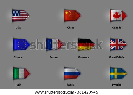 Set of flags in the form of a glossy textured label or bookmark. The unification of Europe and the US China Russia Canada France Germany United Kingdom Italy Sweden.  Vector illustration. #381420946
