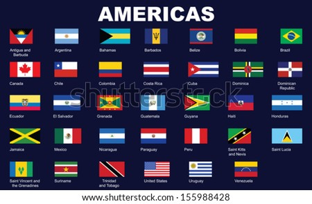 set of flags of americas vector