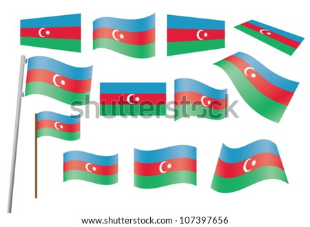 set of flags of Azerbaijan vector illustration