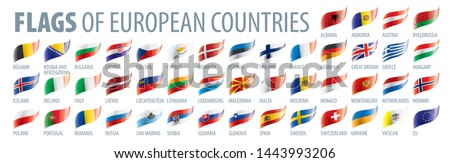 Set of flags of Europe. Vector illustration