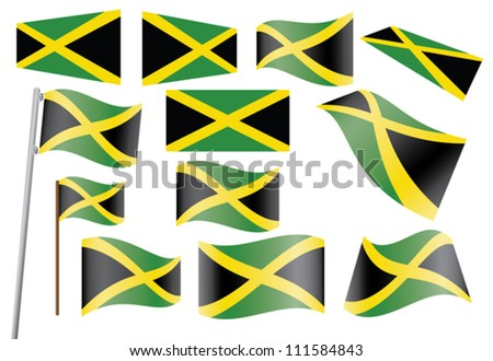 set of flags of jamaica vector