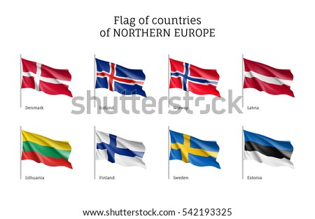 set of flags of northern europe