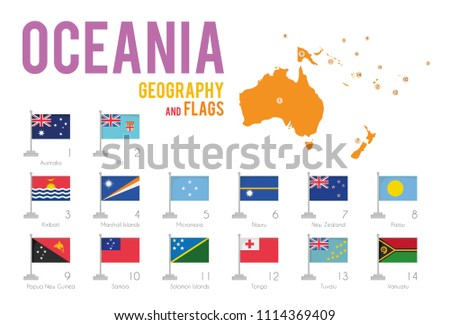 Set of 14 flags of Oceania isolated on white background and map of Oceania with countries situated on it.