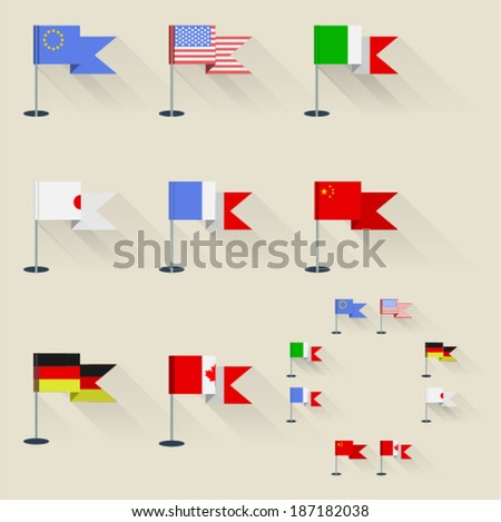 set of flags of the world on