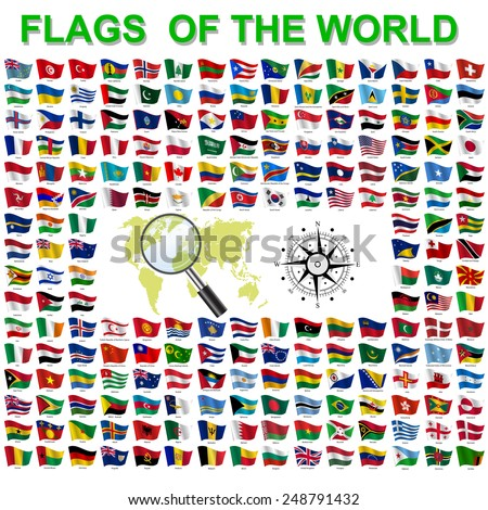 Set of Flags of world sovereign states. Vector illustration.