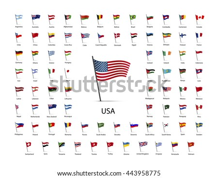 Set of flags on a pole with shadow isolated on white