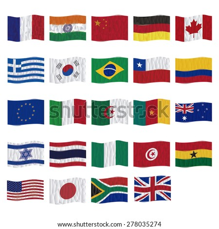 Set of flags on a white background. Low Poly vector illustration #278035274