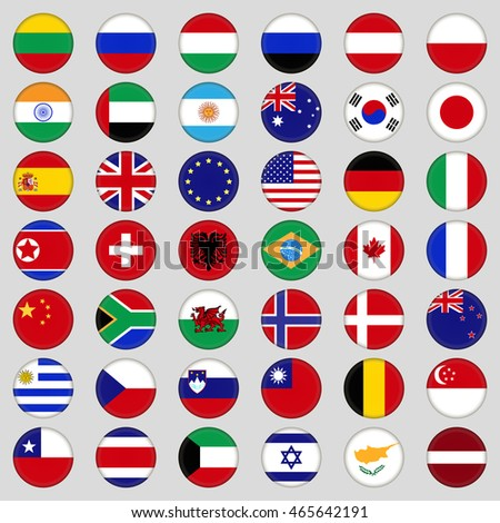 Set of flags. Top, famous country. Flags in the form of a circle . On a grey background #465642191