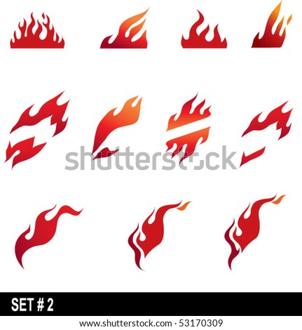 set of flame icons  2