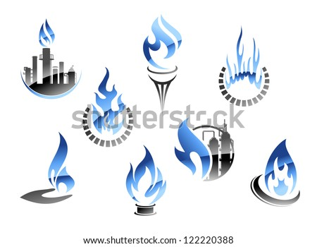 Set of flame icons with a petrochemical plant showing gas extraction and various icons showing domestic usage and consumption of gas as a fuel. Jpeg version also available in gallery