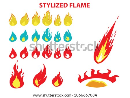 set of flame in different