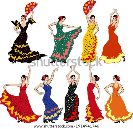 Set of flamenco dancers in colorful traditional spanish dresses isolated on white background Foto stock ©