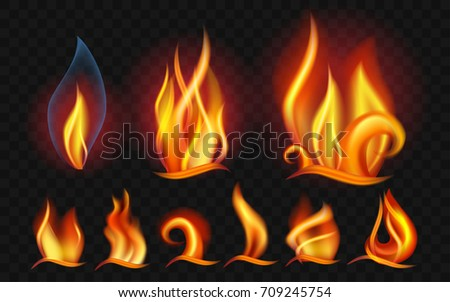 set of flames   modern vector