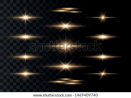 Set of flashes, Lights and Sparkles on a transparent background. Bright gold flashes and glares. Abstract golden lights isolated  Bright rays of light. Glowing lines. Vector illustration eps 10.