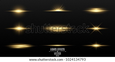 Set of flashes, lights and sparks. Abstract golden lights isolated on a transparent background. Bright gold flashes and glares. Bright rays of light. Glowing lines. Vector illustration. EPS 10