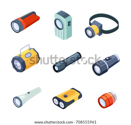 Set of flashlights or torches portable hand-held electric lights realistic vectors isolated on white. Spotlights with a large reflector and LED lamps Foto stock ©