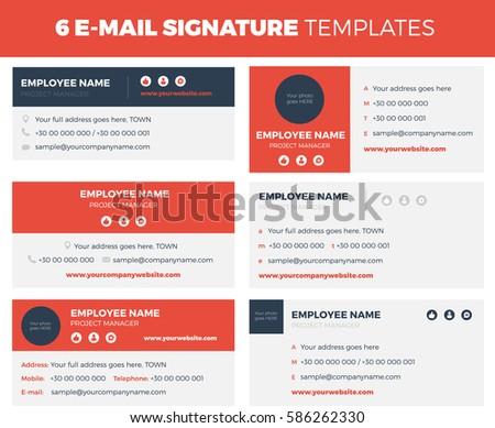 Set of 6 flat and modern e-mail signature templates