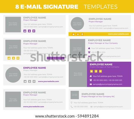 Set of 8 flat and modern e-mail signature templates