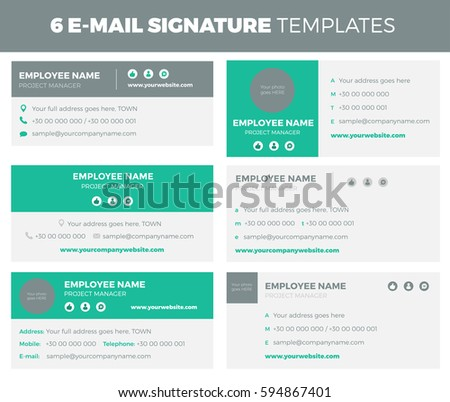 Set of 6 flat and modern e-mail signature templates - volume 2