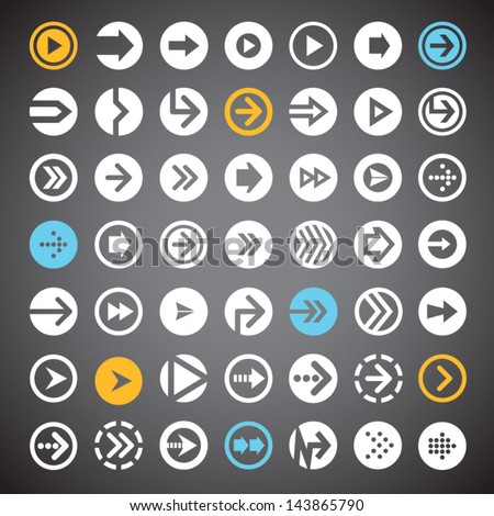 Set of flat arrow icons in circle for web design, mobile apps and buttons