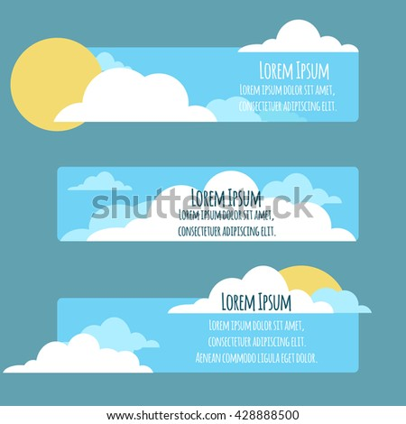 set of flat banners with  sky