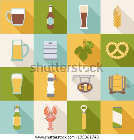 set of flat beer icons