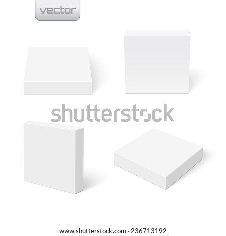 Set of flat blank boxes. Template for your design. Vector illustration