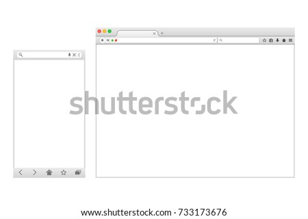 Set of Flat blank browser windows for different devices. Vector. Computer and phone sizes.