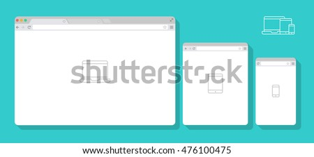 set of flat blank browser