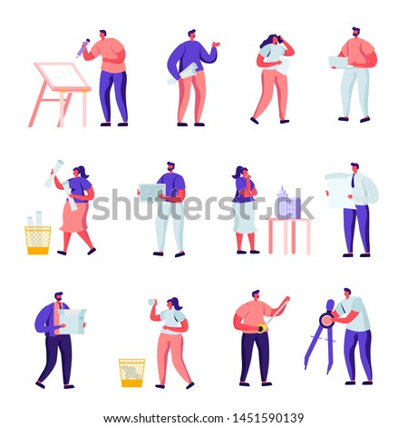 Set of Flat Building, Design and Engineering Workers Characters. Cartoon People Architects, Graphic Designers and Engineers Working on Projects, Painting on Blueprints. Vector Illustration.