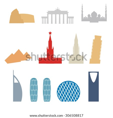 Set of flat buildings icons countries. Attraction of Dubai, Rome. Russia and Germany. Architecture attraction of different countries and States. Vector illustration.