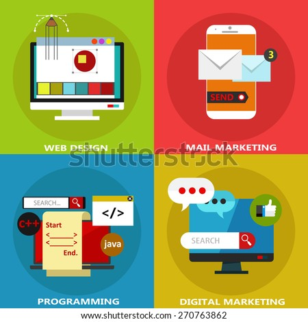 Set of flat business icons and elements for web design, mail marketing, programming and digital marketing #270763862