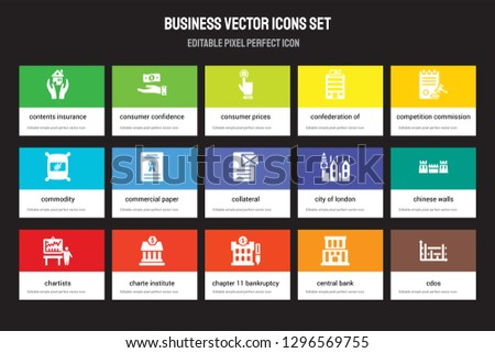 Set of 15 flat business icons - Contents insurance, Consumer confidence, Chapter 11 bankruptcy, Competition Commission, Chartists. Vector illustration isolated on colorful background